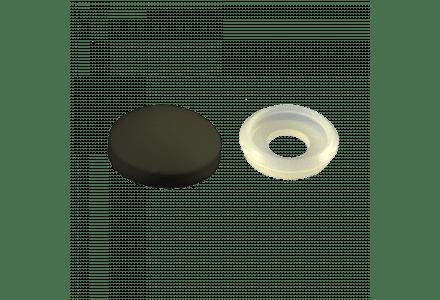 Afdekkapjes met ring 10mm kleur zwart 100 stuks